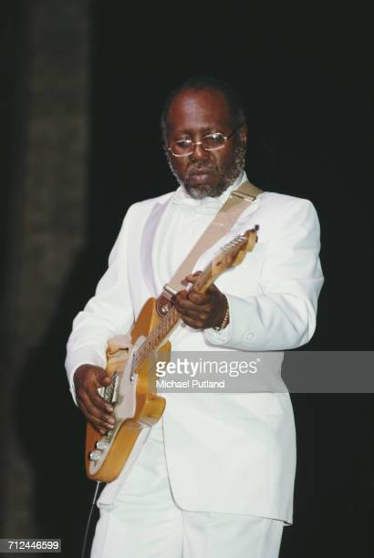 American singer songwriter and guitarist Curtis Mayfield performs on stage with The Impressions at the Beacon Theater in New York on 6th May 1983
