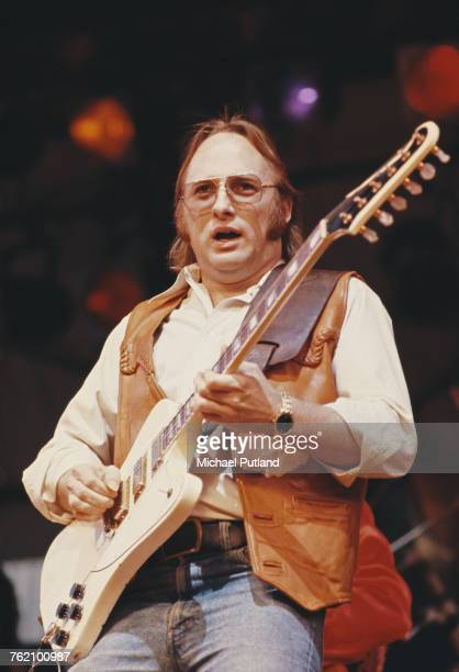 American singer songwriter and guitarist Stephen Stills performing with The Californian Blues Band at the Dr Pepper Central Park Music Festival at...