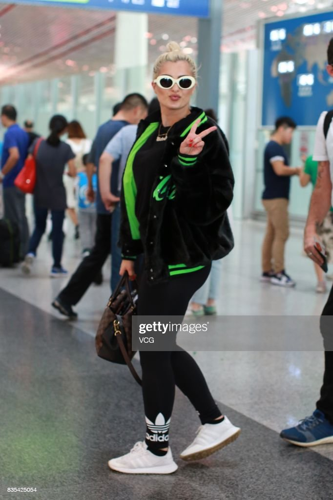 American singer, songwriter and record producer Bebe Rexha is seen at Beijing Capital International Airport on August 19, 2017 in Beijing, China.