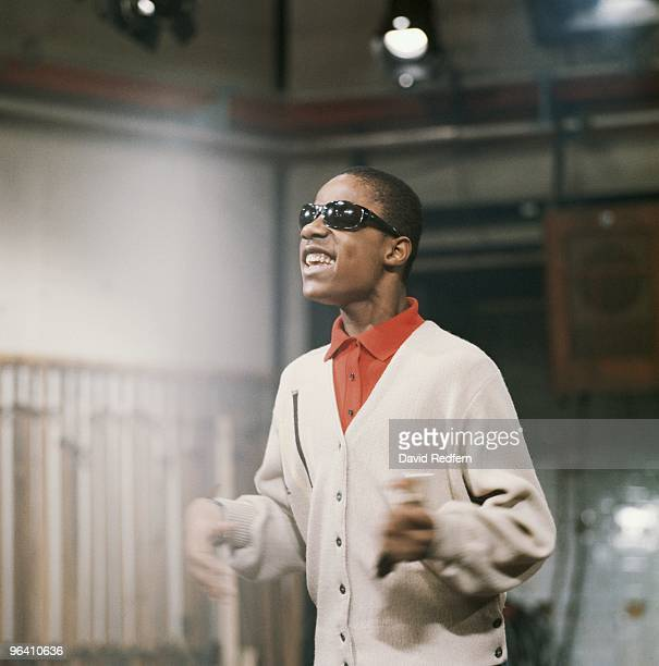 Stevie Wonder performs on the Rediffusion TV show 'Ready Steady Go' at Television House on Kingsway in December 1963 in London Image is part of David...