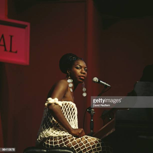 Nina Simone performs on stage at Newport Jazz Festival on July 4th 1968 in Newport Rhode Island Image is part of David Redfern Premium Collection