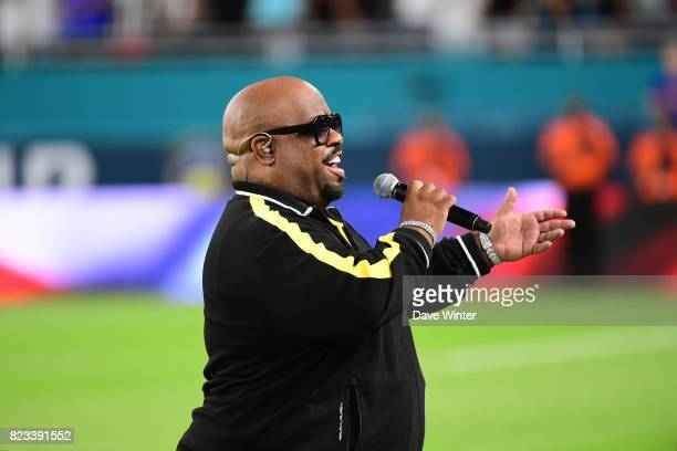 American singer Thomas DeCarlo Callaway better known by his stage name CeeLo Green sings the Star Spangled Banner American national anthem before the...