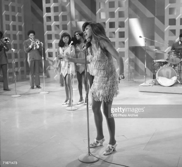 American singer Tina Turner of the The Ike Tina Turner Revue performs on the set of 'The Ed Sullivan Show' New York New York January 11 1970