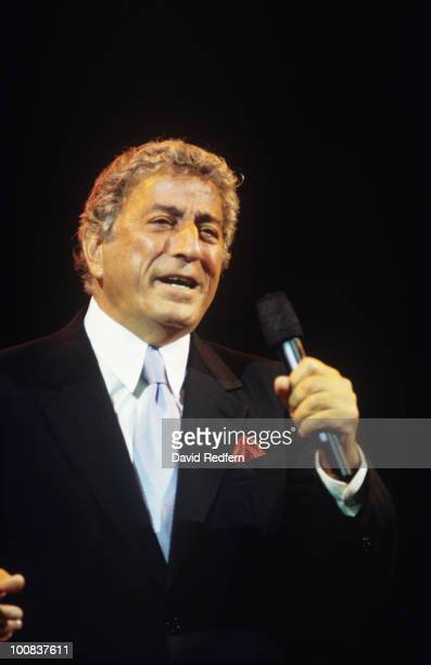 American singer Tony Bennett performs on stage in 1995