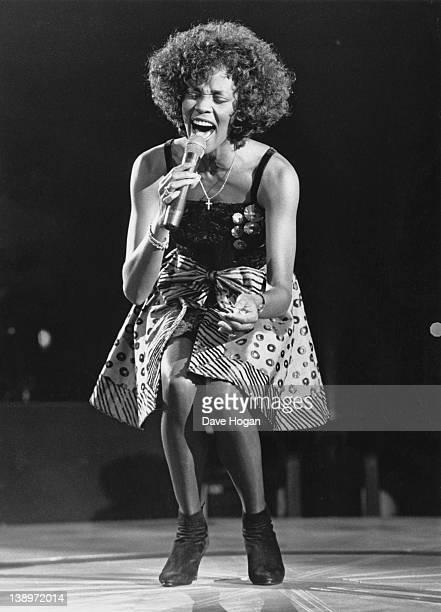 American singer Whitney Houston in concert 27th April 1988