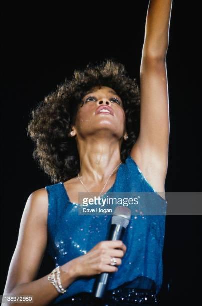 American singer Whitney Houston in concert circa 1986