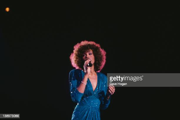 American singer Whitney Houston in concert circa 1986