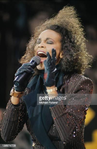 American singer Whitney Houston performing at the Nelson Mandela 70th Birthday Tribute Concert Wembley Stadium 11th June 1988