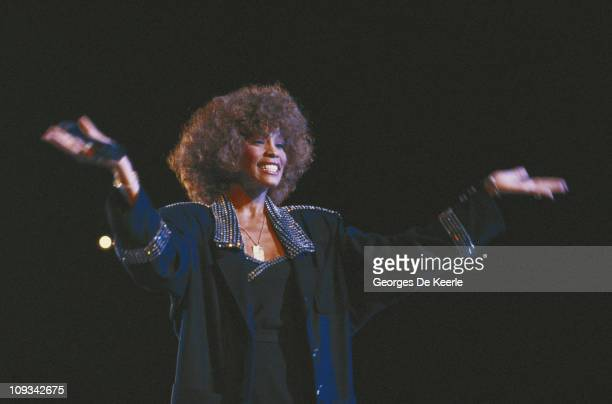 American singer Whitney Houston performing in London 19th October 1986
