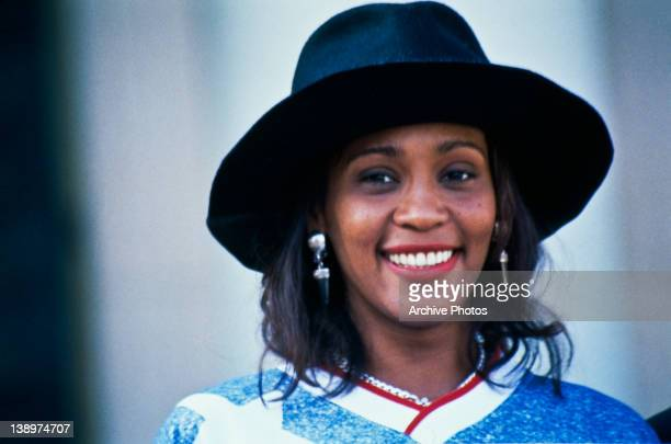 American singer Whitney Houston watches a World Cup soccer match 1994