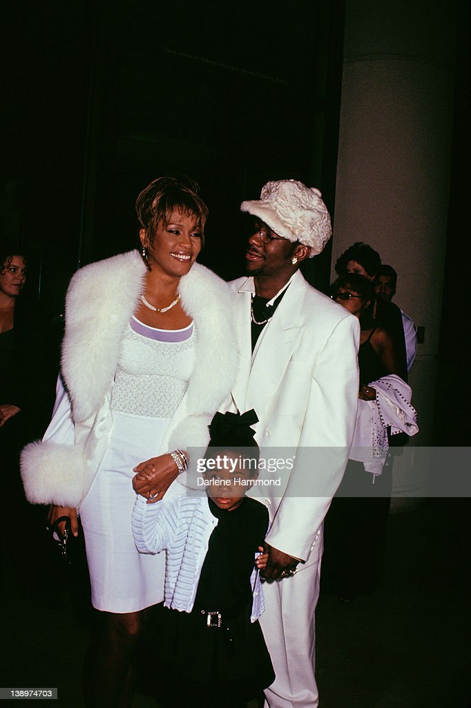 American singer Whitney Houston (1963 - 2012) with her husband Bobby Brown and their daughter Bobbi Kristina Brown at the International Achievement in Arts ceremony at the Beverly Hilton hotel in Beverly Hills, 10th November 1998.