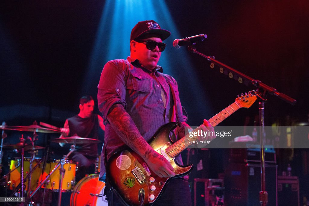 American singer/guitarist <a gi-track='captionPersonalityLinkClicked' href=/galleries/search?phrase=Rome+Ramirez&family=editorial&specificpeople=6394773 ng-click='$event.stopPropagation()'>Rome Ramirez</a> of Rome performs on his first solo tour 'DEDICATION TOUR 2012' at The Vogue on November 10, 2012 in Indianapolis, Indiana.