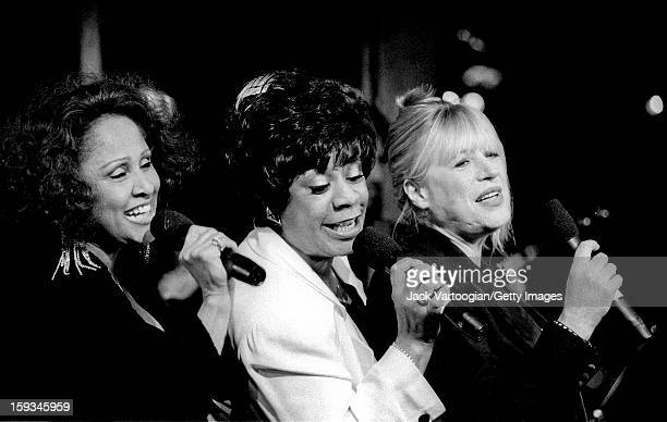 American singers Darlene Love and Merry Clayton with British singer Marianne Faithfull as they perform as part of the '20th Century Pop' concert at...