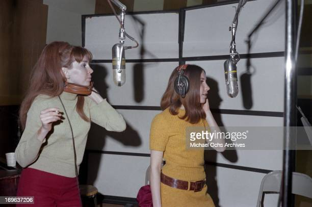 American singers Janis Hansen and Lani Hall with the group Sergio Mendes and Brasil '66 record at United Western Recorders studios on March 3 1967 in...