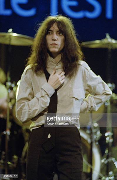 American singersingwriter Patti Smith and the Patti Smith Group perform on the BBC television show 'The Old Grey Whistle Test' filmed in Manchester...