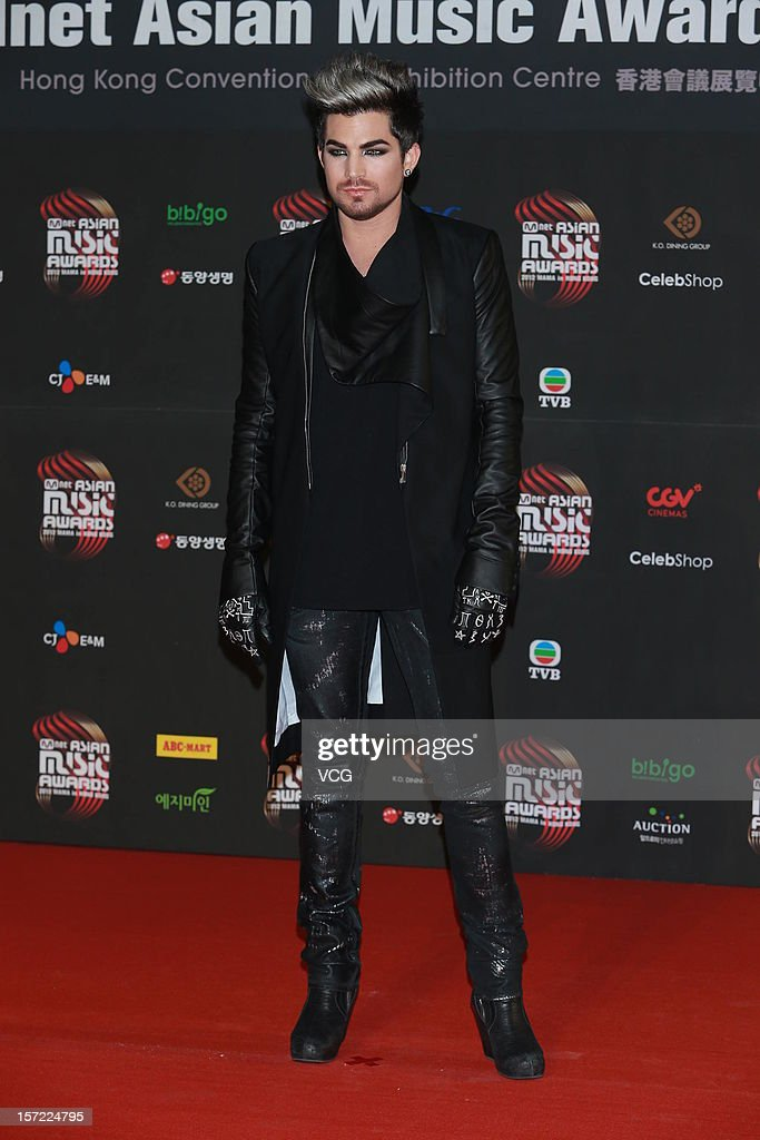 American singer-songwriter Adam Lambert arrives at the red carpet of the 2012 Mnet Asian Music Awards at Hong Kong Convention & Exhibition Center on November 30, 2012 in Hong Kong, China.