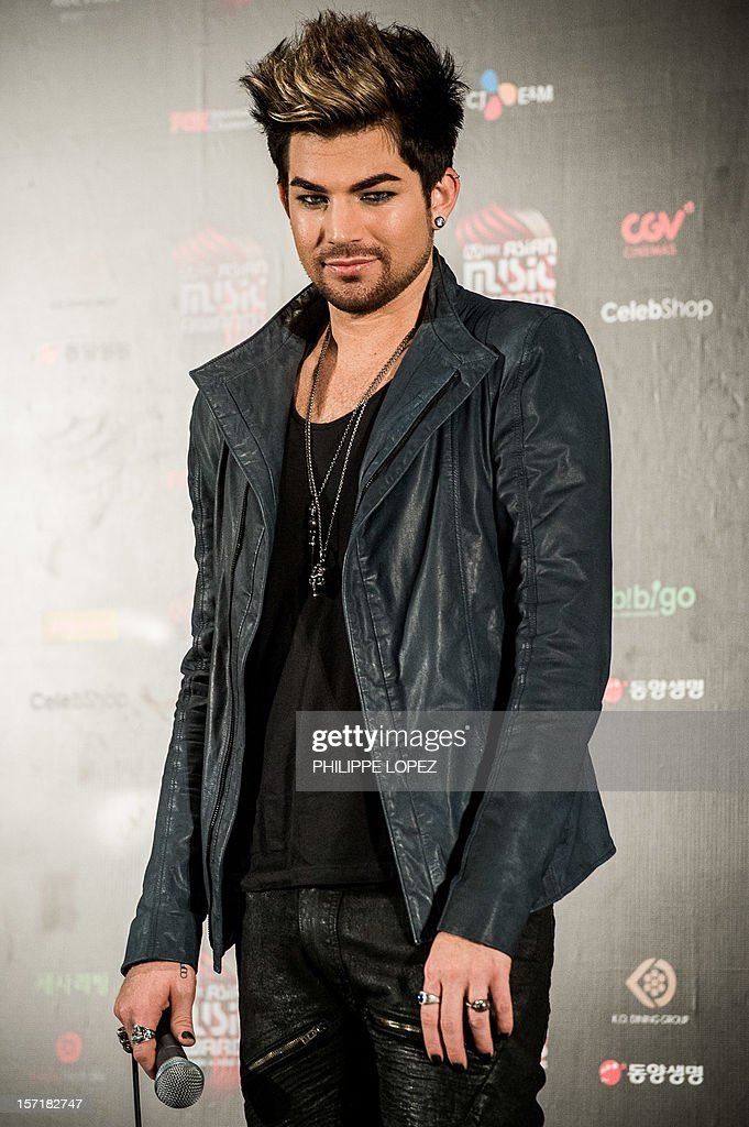 American singer-songwriter Adam Lambert attends a press conference of the 2012 Mnet Asian Music Awards in Hong Kong on November 30, 2012. The award ceremony is one of the major K-pop music awards. AFP PHOTO / Philippe Lopez