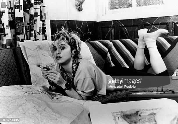 American singersongwriter and actress Madonna lying on a sofa in the film Desperately Seeking Susan New York 1985