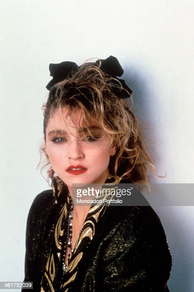 American singersongwriter and actress Madonna posing on the set of the film Desperately Seeking Susan New York 1985