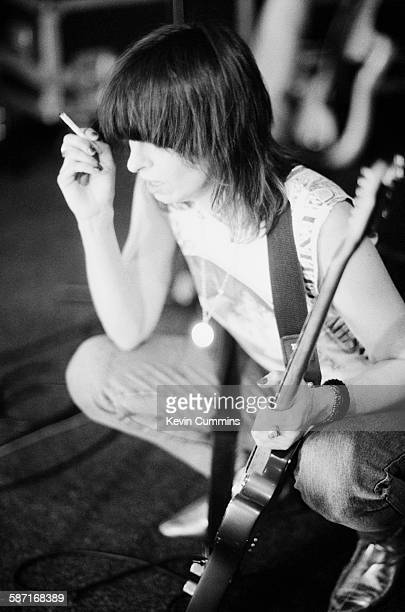 American singersongwriter and guitarist Chrissie Hynde of rock group The Pretenders in a rehearsal studio London March 1994