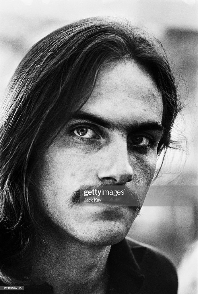 American singer-songwriter and guitarist <a gi-track='captionPersonalityLinkClicked' href=/galleries/search?phrase=James+Taylor+-+Songwriter&family=editorial&specificpeople=206431 ng-click='$event.stopPropagation()'>James Taylor</a>, 8th July 1971. He is in London to perform at the Royal Festival Hall with Carole King.
