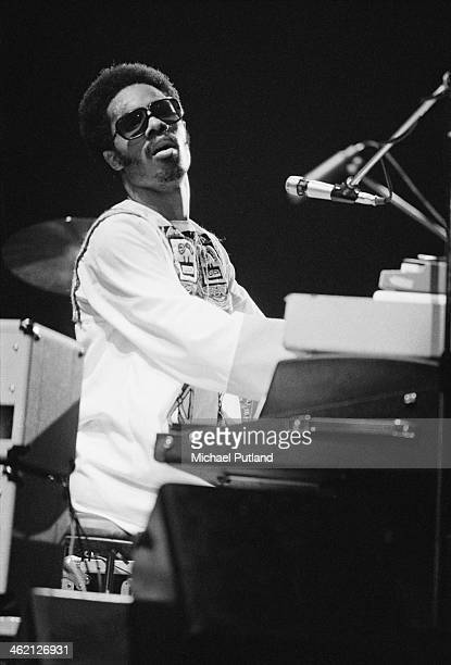 American singersongwriter and keyboard player Stevie Wonder performing at the Rainbow Theatre London 28th Janaury 1974