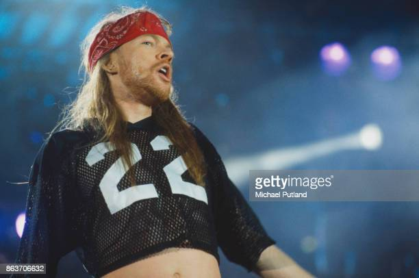 American singersongwriter Axl Rose of rock group Guns N' Roses performs at the Freddie Mercury Tribute Concert Wembley Stadium London 20th April 1992