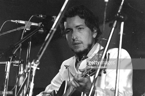 American singersongwriter Bob Dylan in concert at the Isle of Wight Pop Festival