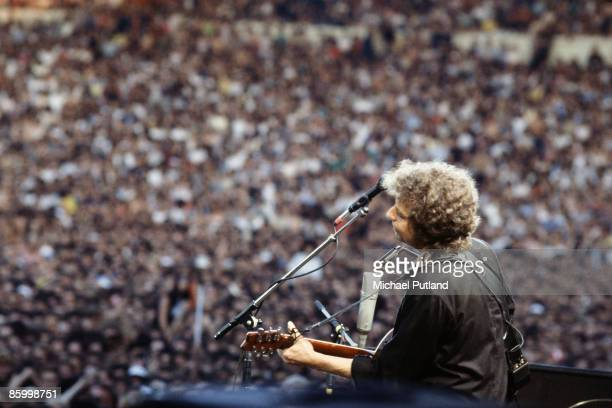 American singersongwriter Bob Dylan performs at Wembley Stadium in London July 1984