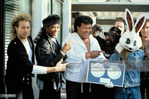 American singersongwriter Chubby Checker with Jive Bunny and The Mastermixers on October 25 1989 in London England Jive Bunny The Mastermixers had...
