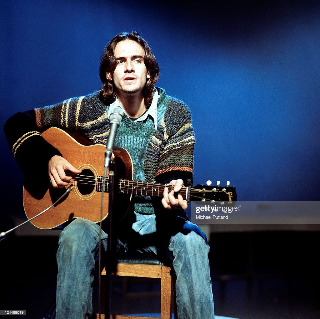 American singer-songwriter <a gi-track='captionPersonalityLinkClicked' href=/galleries/search?phrase=James+Taylor+-+Songwriter&family=editorial&specificpeople=206431 ng-click='$event.stopPropagation()'>James Taylor</a> at a BBC TV studio, London, 20th October 1970.