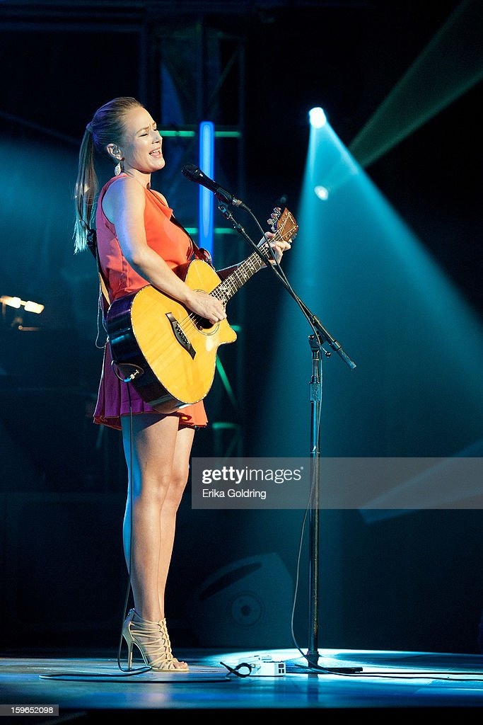 American singer-songwriter Jewel performs at the 31st annual Texaco Country Showdown fational final at the Ryman Auditorium on January 17, 2013 in Nashville, Tennessee.