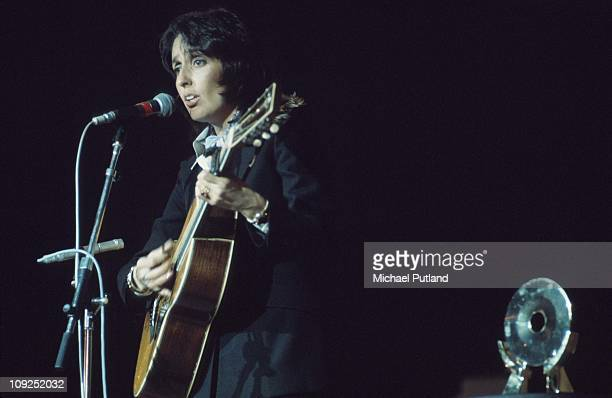 American singersongwriter Joan Baez performing on stage during the Midem music industry trade fair in Cannes France 30th January 1976