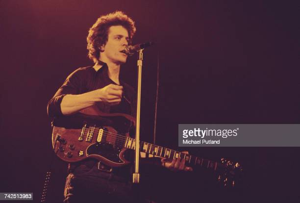 American singersongwriter Lou Reed performs live on stage playing a Gibson SG guitar at the Hammersmith Odeon 25th March 1975 The concert is part of...