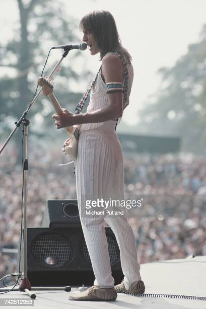American singersongwriter musician and record producer Todd Rundgren performs live on stage with Todd Rundgren's Utopia at the Knebworth Fair...