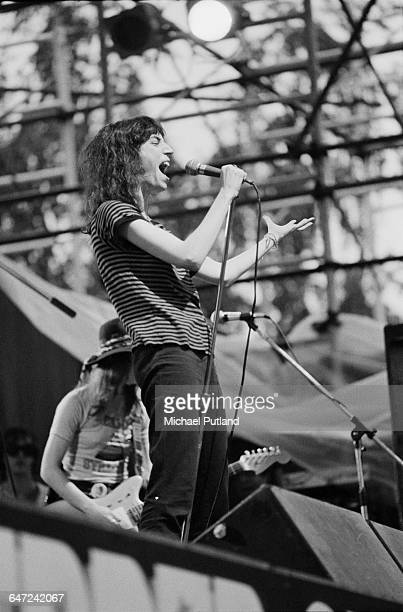 American singersongwriter Patti Smith performing with The Patti Smith Group at the Dr Pepper Central Park Music Festival at Wollman Rink in Central...
