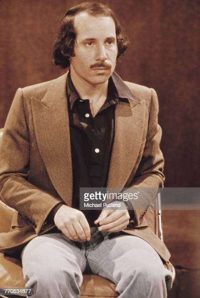 American singersongwriter Paul Simon of folk rock duo Simon Garfunkel pictured being interviewed on a BBC TV show in London on 15th December 1975
