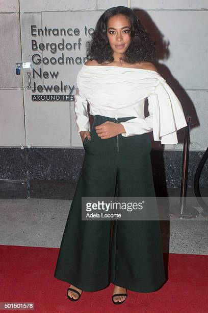 American singersongwriter Solange Knowles atteds Bergdorf Goodman X Gemfields VIP Party at Bergdorf Goodman on December 15 2015 in New York City