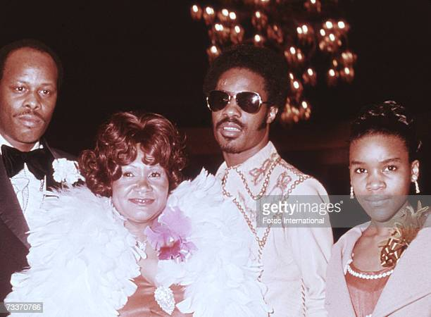 American singersongwriter Stevie Wonder with his father his mother Lula Mae Hardaway and his sister at the Grammy Awards in Hollywood 2nd March 1974