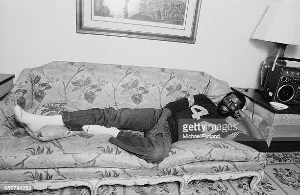 American singer–songwriter Teddy Pendergrass in a hotel room New York 1981