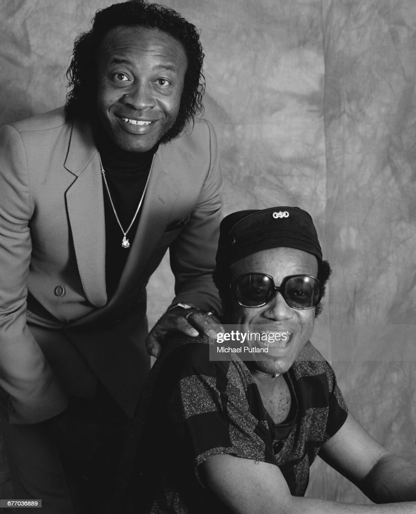 American singer-songwriters Bobby Womack (1944 - 2014, left) and his younger brother, Cecil Womack (1947 - 2013), London, 2nd April 1987.