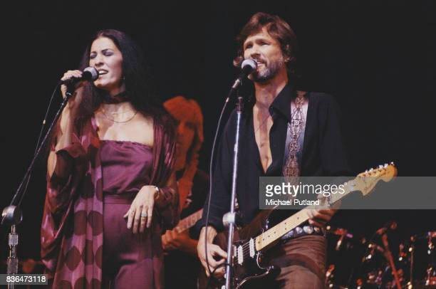 American singersongwriters Rita Coolidge and her husband singer and musician Kris Kristofferson performing on stage USA January 1979