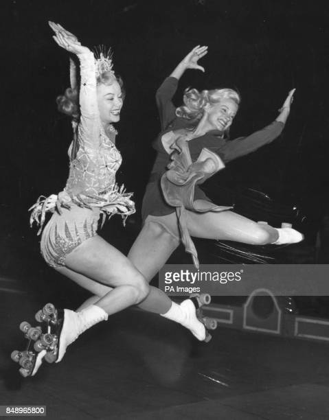 American skaters Gloria Nord and Peggy Wallace rehearse for their new roller musical Skating Vanities of 1951 which opens in Wembley London *Low res...