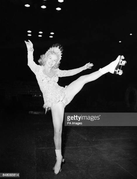 American skating star Gloria Nord during rehearsal for the new roller musical 'Skating Vanities of 1951'