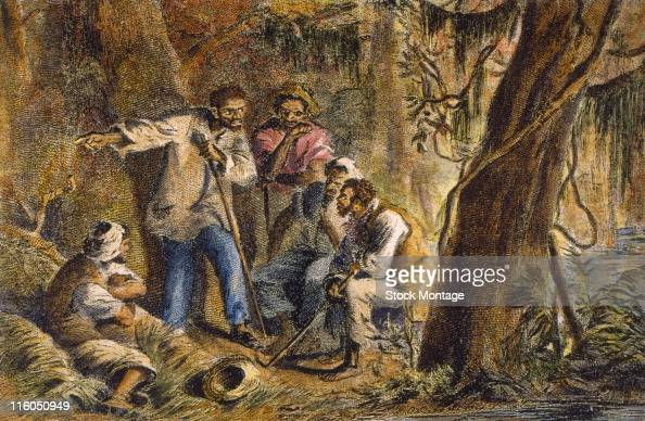 American slave leader Nat Turner and his companions are shown in a wooded area 1831 Turner led an uprising of slaves that resulted in the death of...