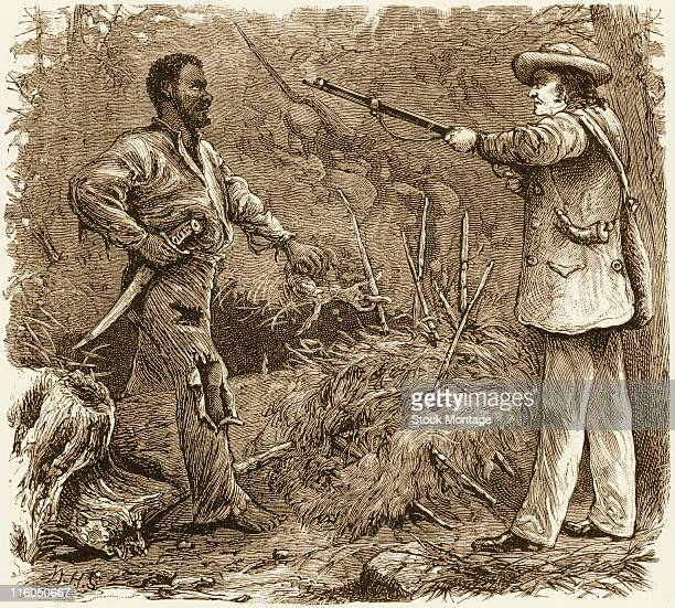 American slave Nat Turner is shown being discovered in a wooded area of Virginia by a white man carrying a gun 1831 In 1831 Turner led an uprising of...