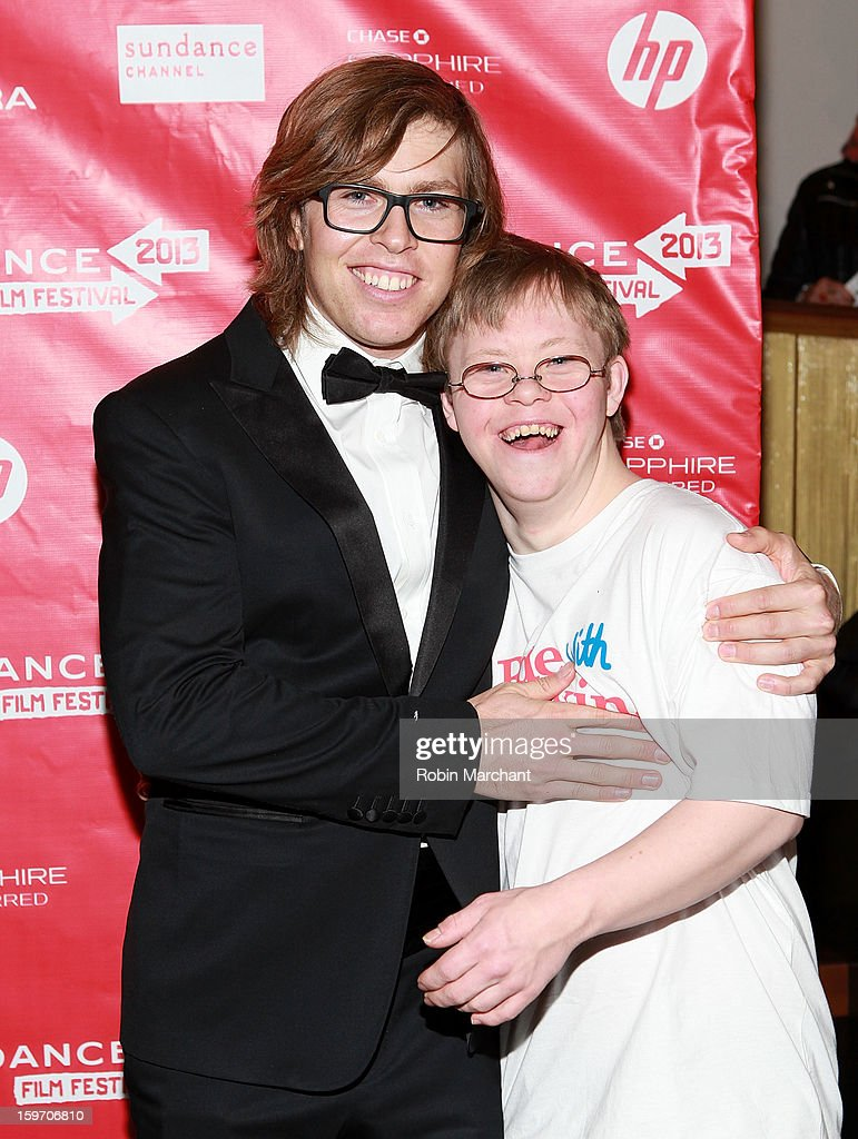 American snowboarder Kevin Pearce (L) and brother David Pearce attends 'The Crash Reel' Premiere at Rose Wagner Performing Arts Center on January 18, 2013 in Salt Lake City, Utah.