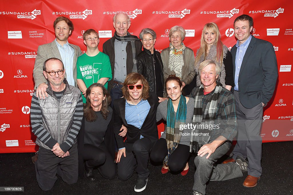 American snowboarder <a gi-track='captionPersonalityLinkClicked' href=/galleries/search?phrase=Kevin+Pearce&family=editorial&specificpeople=3107126 ng-click='$event.stopPropagation()'>Kevin Pearce</a> (bottom row, center) and family attend 'The Crash Reel' premiere at The Marc Theatre during the 2013 Sundance Film Festival on January 19, 2013 in Park City, Utah.
