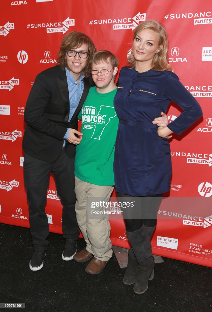 American snowboarder Kevin Pearce, brother David Pearce and director Lucy Walker attend 'The Crash Reel' premiere at The Marc Theatre during the 2013 Sundance Film Festival on January 19, 2013 in Park City, Utah.