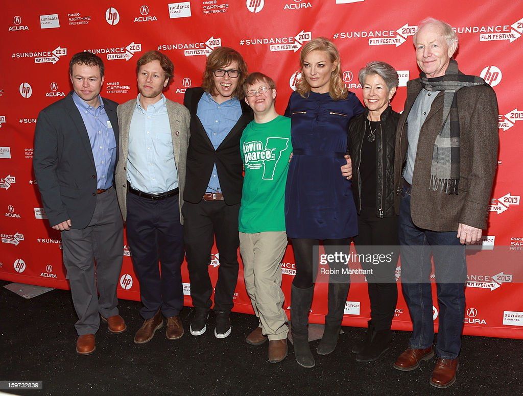 American snowboarder Kevin Pearce (third from left), brother David Pearce (center), director Lucy Walker (third from right) and the Pearce family attend 'The Crash Reel' premiere at The Marc Theatre during the 2013 Sundance Film Festival on January 19, 2013 in Park City, Utah.